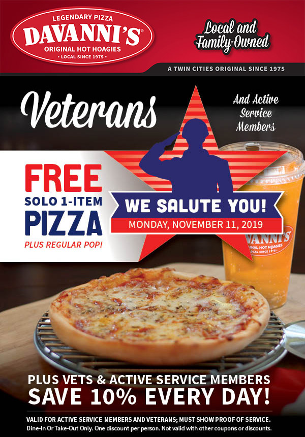 Offering a free Solo 1-Item Pizza and Fountain Drink to all Veterans and Active Service Members on Veterans Day